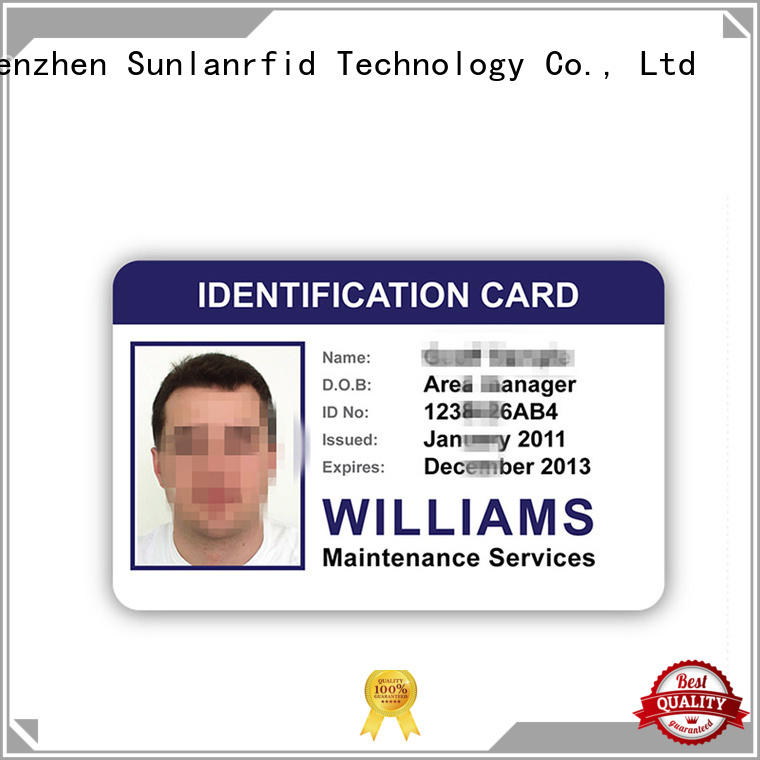 Sunlanrfid durable identity card format production for daily life