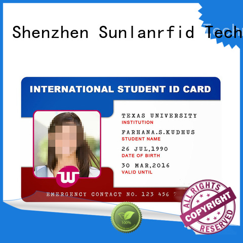 Sunlanrfid em4450 id card template wholesale for time and attendance