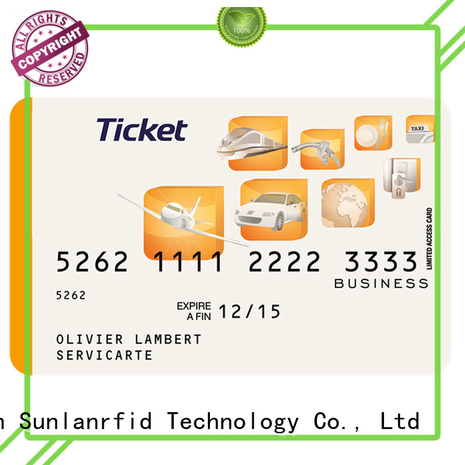 Sunlanrfid Brand ticket train smart card pvc factory