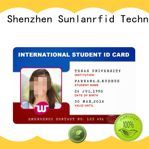 Sunlanrfid id school id card production for time and attendance