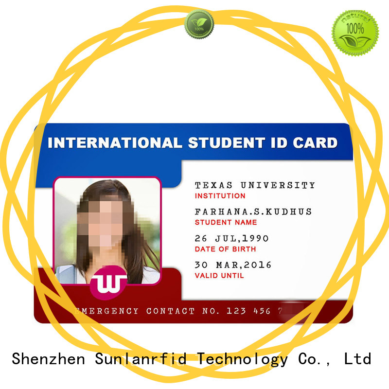 Sunlanrfid durable school id card format em4305 for parking